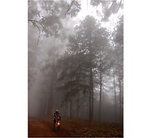 THE MIST, THE BICYCLE MAN AND THE LANTERN Photographic Print