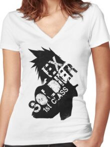 Cloud Strife ex-SOLDIER Women's Fitted V-Neck T-Shirt