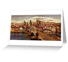 Prague Charles bridge oil painting Greeting Card