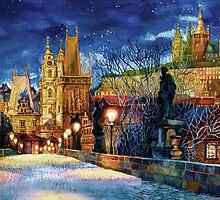 Prague Charles bridge at night by Victoria Francisco