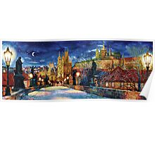 Prague Charles bridge at night Poster