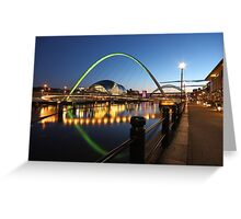 Newcastle-Gateshead, Bridges and Quayside at Dusk Greeting Card