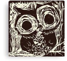 Owl Woodcut Canvas Print