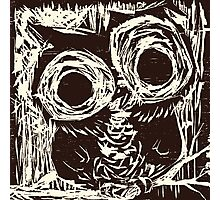 Owl Woodcut Photographic Print