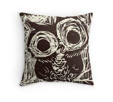 Owl Woodcut Throw Pillow
