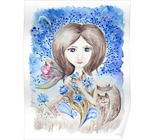 Fairy Girl with Flowers Watercolor Illustration Poster