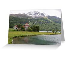 Crap da Sass Castle and Lake Silvaplana Greeting Card
