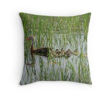 Whistling Duck Mommy and Babies Throw Pillow