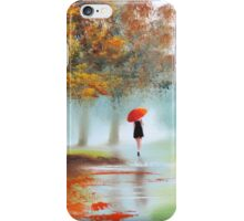 Woman with a red umbrella autumn landscape art poster iPhone Case/Skin