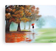 Woman with a red umbrella autumn landscape art poster Canvas Print