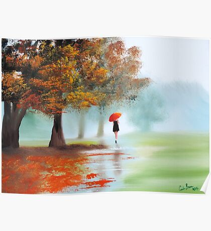 Woman with a red umbrella autumn landscape art poster Poster