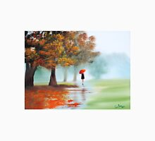 Woman with a red umbrella autumn landscape art poster T-Shirt