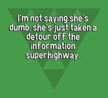 I'm not saying she's dumb' she's just taken a detour off the information superhighway. by margdbrown