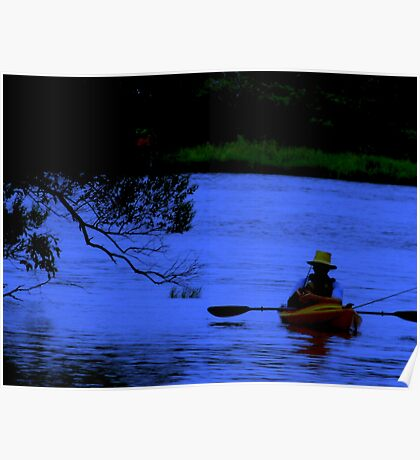 Inland fishing at dusk Poster