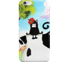 cat in a hat on a cow  iPhone Case/Skin