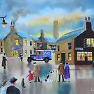 Vintage Tetley tea van street scene painting  by gordonbruce