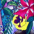 yellow pansie still life by maria paterson
