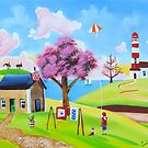 Flying a kite naive landscape art by gordonbruce