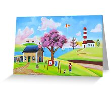 Flying a kite naive landscape art Greeting Card