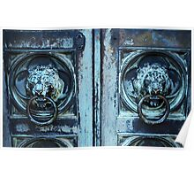 Lion Head Doorknockers Poster