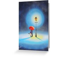 Romantic couple under a street lamp Greeting Card