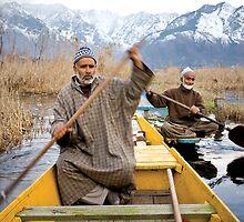 Kashmir Boatmen on Dal Lake by crowdedstudios
