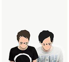 Dan & Phil - Cartoon Faces Photographic Print