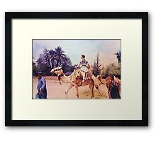 Vintage Woman on a Camel in Africa Framed Print
