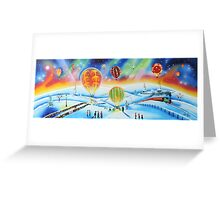 Hot air balloons winter landscape painting Greeting Card