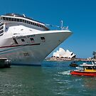 Cruise ship at Circular Quay, Sydney Harbour by Erik Schlogl