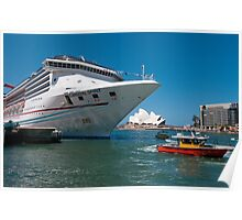 Cruise ship at Circular Quay, Sydney Harbour Poster