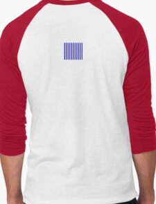 Navy Blue Striped French Bedspread Skirt Men's Baseball ¾ T-Shirt