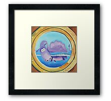 Loch Ness moster looking through a port hole Framed Print