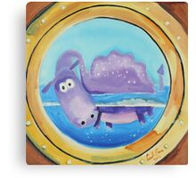Loch Ness moster looking through a port hole Canvas Print