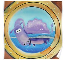 Loch Ness moster looking through a port hole Poster