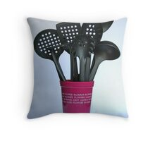 A vase of utensils Throw Pillow