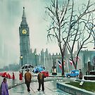 rainy day in London people with umbrellas by gordonbruce
