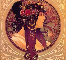 Donna Orechini by Alphonse Mucha by vintageposters