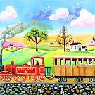Red steam train naive folk art painting by gordonbruce