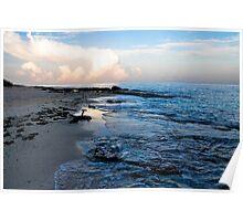 Beach scene at sunset El Cozumeleno Poster
