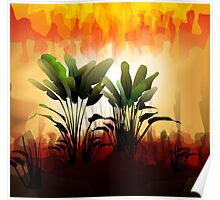Plant on sunset Poster