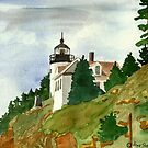 Bass Harbor Head Light   Mount Dessert Island Maine by Marie Luise  Strohmenger