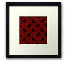 Black Ravens on Blood Red Framed Print