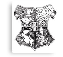 Hand Drawn Hogwarts Crest Canvas Print