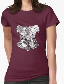 Hand Drawn Hogwarts Crest Womens Fitted T-Shirt