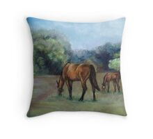 Horse Pasture Pastel Painting Throw Pillow