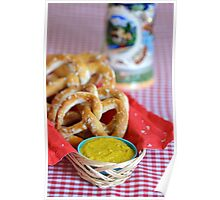 Salt Pretzels with Mustard and Beer Stein on Red Checker Tablecloth Poster