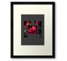 Abstract Geometry: Cubic Nebula (Dark Grey/Purple/Red) Framed Print
