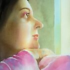 Self Portrait at the window , watercolor on paper by Sandrine Pelissier