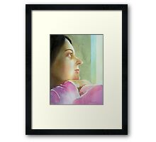Self Portrait at the window , watercolor on paper Framed Print